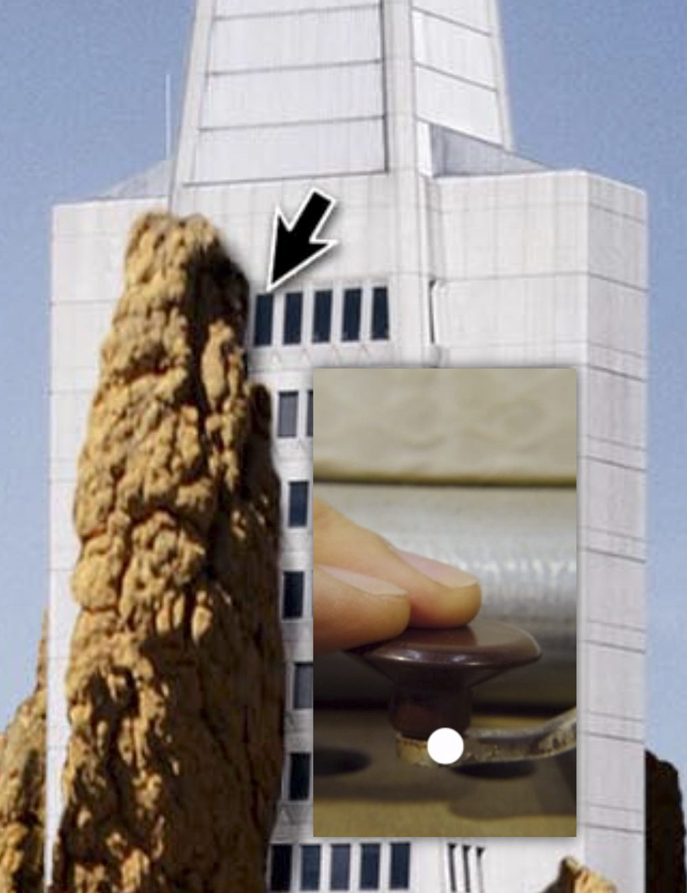 Thumbnail of an iframe that links out to a dynamic digital project by Jeremiah Barber. Primary image is a full-color collage of the Transamerica Building in San Francisco entwined / taken over by a termite mound, with a mouse cursor hovering over it, revealing a pop-up video of two fingers pressing a lever.
