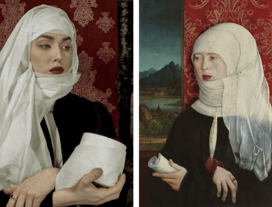 On the left, a woman in three-quarters view with crossed wrists holds a roll of toilet paper. She wears a toilet paper headdress and make-up to resemble Bernhard Strigel's Portrait of Martha Thannstetter. On the right is Strigel's actual painting, showing a woman in three-quarters view with crossed wrists holds a scroll. She wears a cloth headdress that covers her hair.