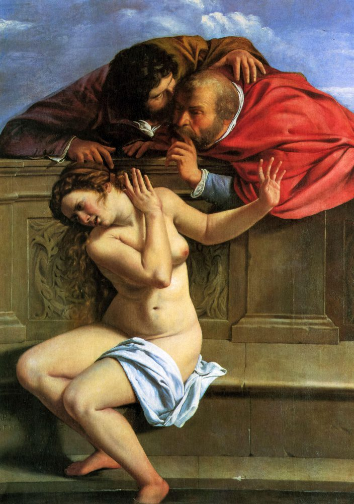 Artemisia Gentileschi paints a vivid portrayal of a woman threatened by the advances of two older men. She is seated on a bench, as two men peer over a parapet and invade her space.