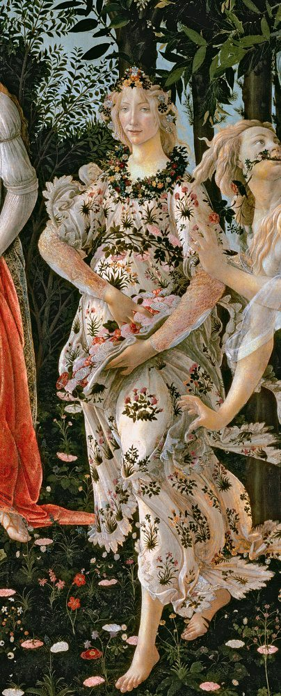 Botticelli's Primavera is a large panel painting that depicts mythological figures set in a garden scene. This particular detail features the beautiful Flora, a woman in a dress of flowers.