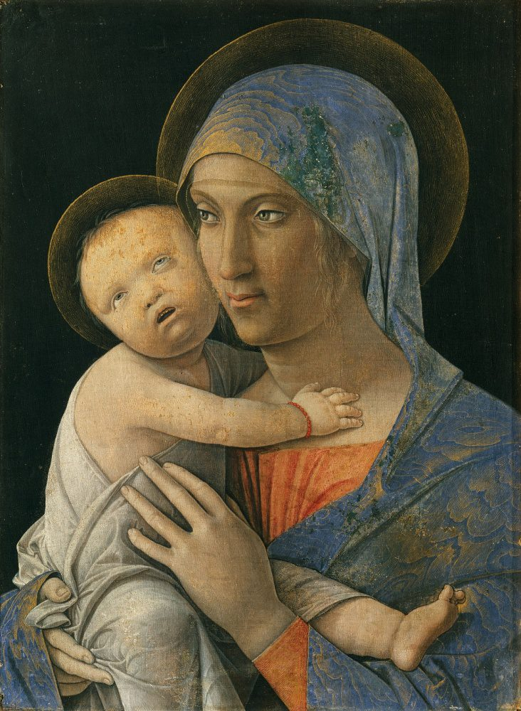 In this Marian image, Mantegna paints the Virgin Mary with a blue headdress. The Christ Child reaches out to her and looks up to the heavens.