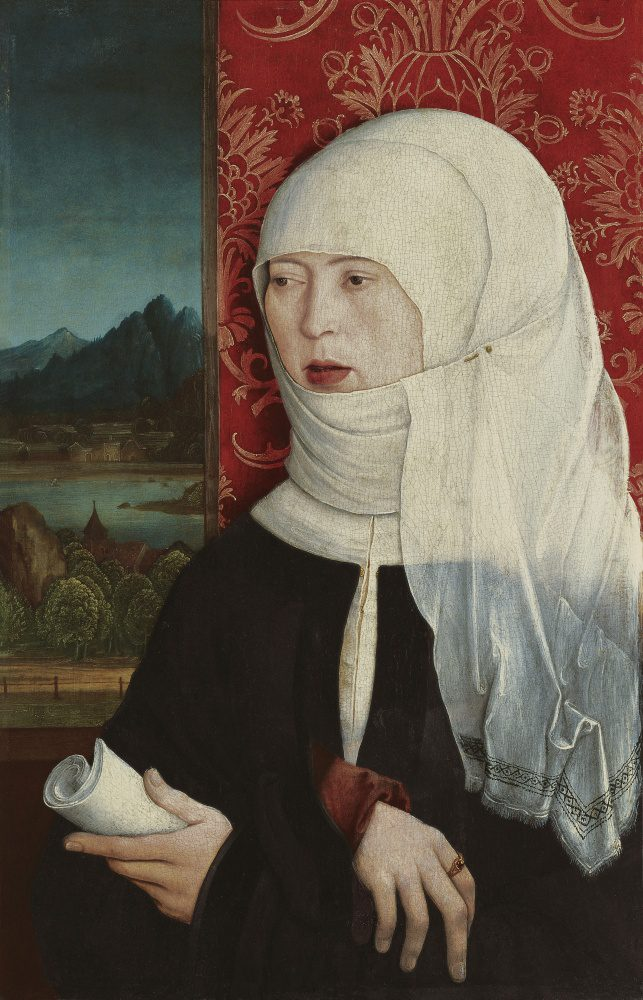A woman in three-quarters view with crossed wrists holds a scroll. She wears a cloth headdress that covers her hair.