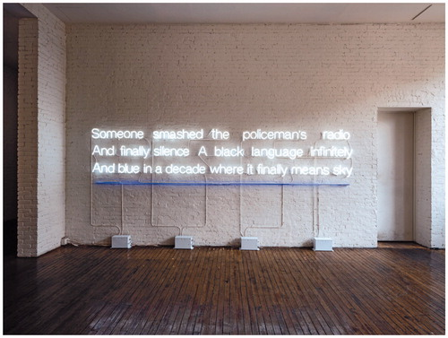 A neon light artwork on a wall. Sable Elyse Smith, Landscape V, 2020, neon, 80×198×8 in. (203.2×502.9×20.3cm), installation view, Marking Time: Art in the Age of Mass Incarceration, MoMA PS1, New York, 2020–21 (photograph by Kris Graves, provided by MoMA PS1)