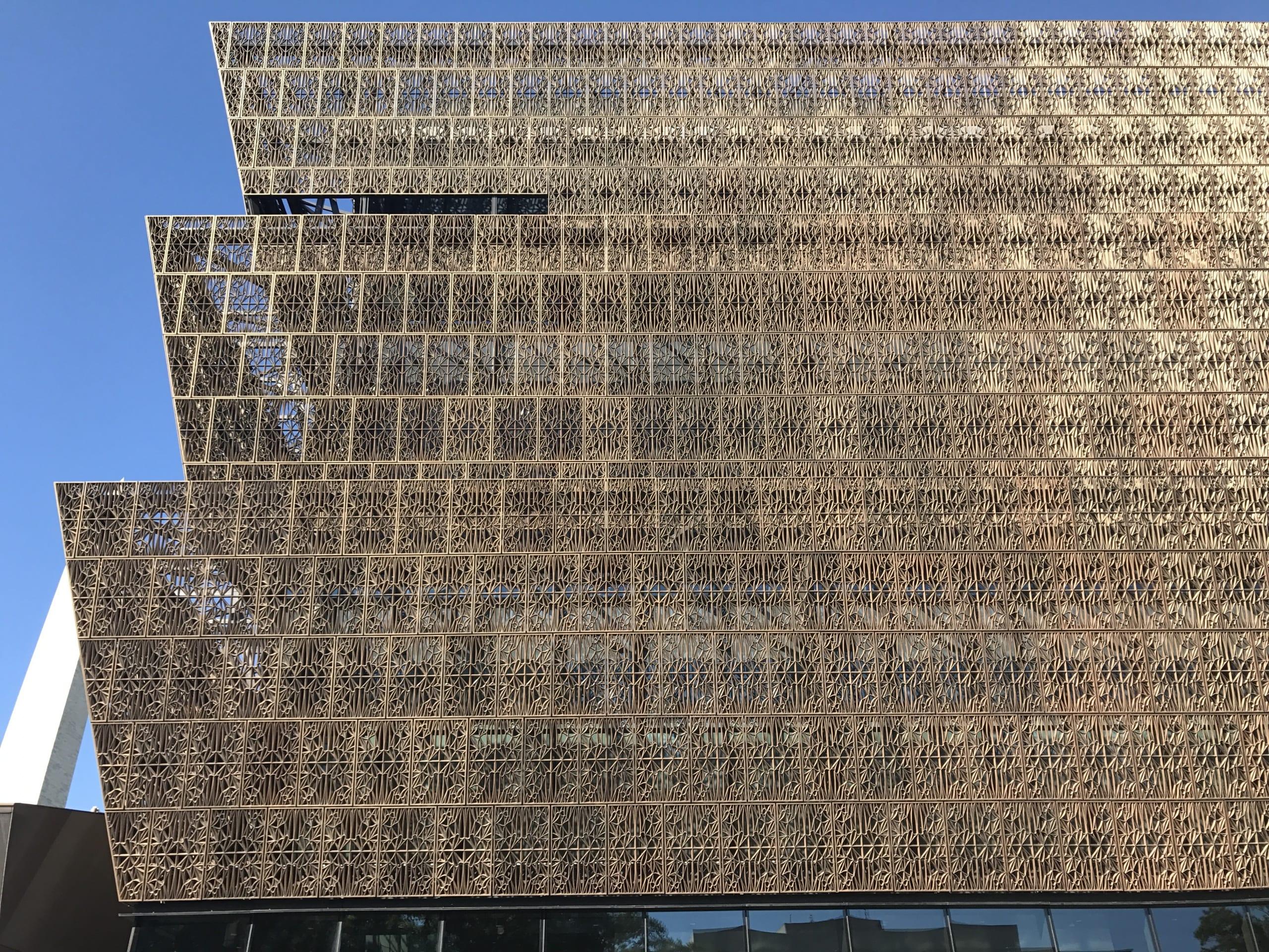 exterior of three tiered metal cladding