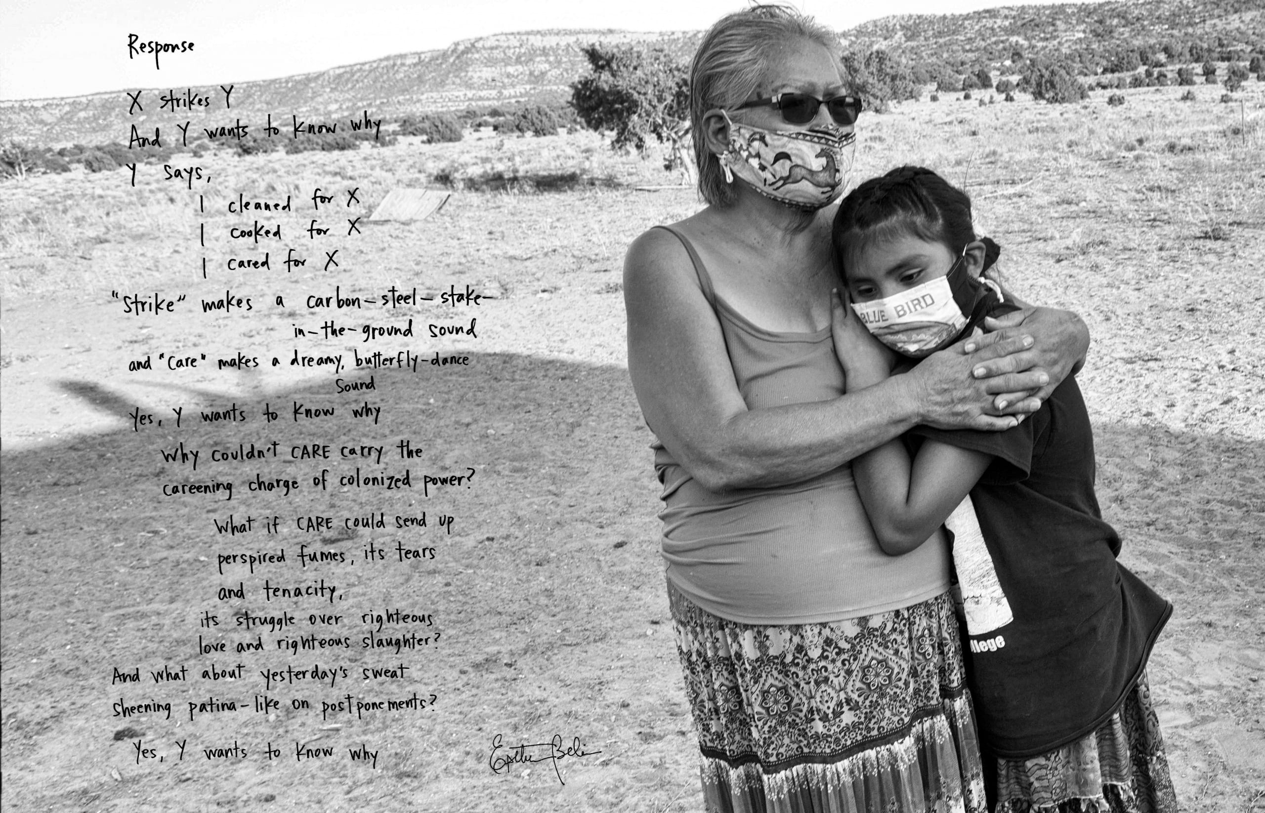 Black and white photograph of an older woman and a child embracing one another; they are standing outside and both wear handmade cloth face masks. A handwritten poem is superimposed over the left of the photograph