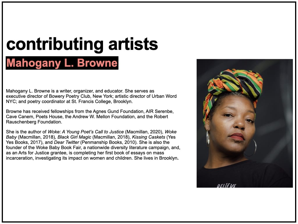 Biography text for Mahogany L. Browne, accompanied by a color portrait photograph of the artist