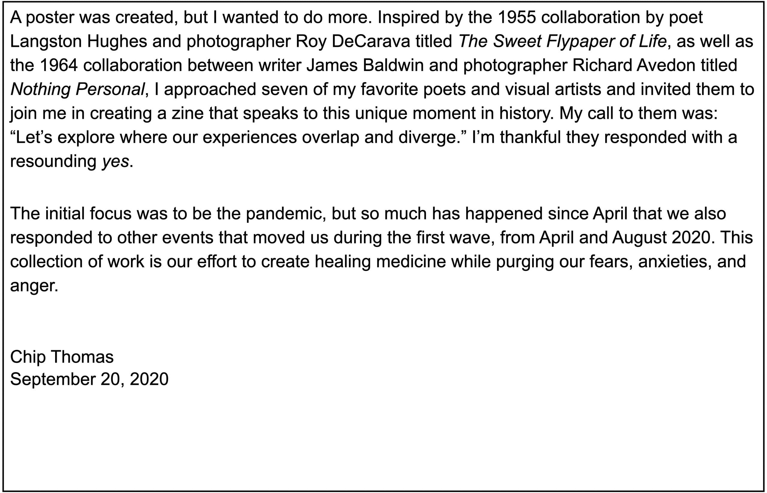 Introductory letter by Chip Thomas, editor, cont.