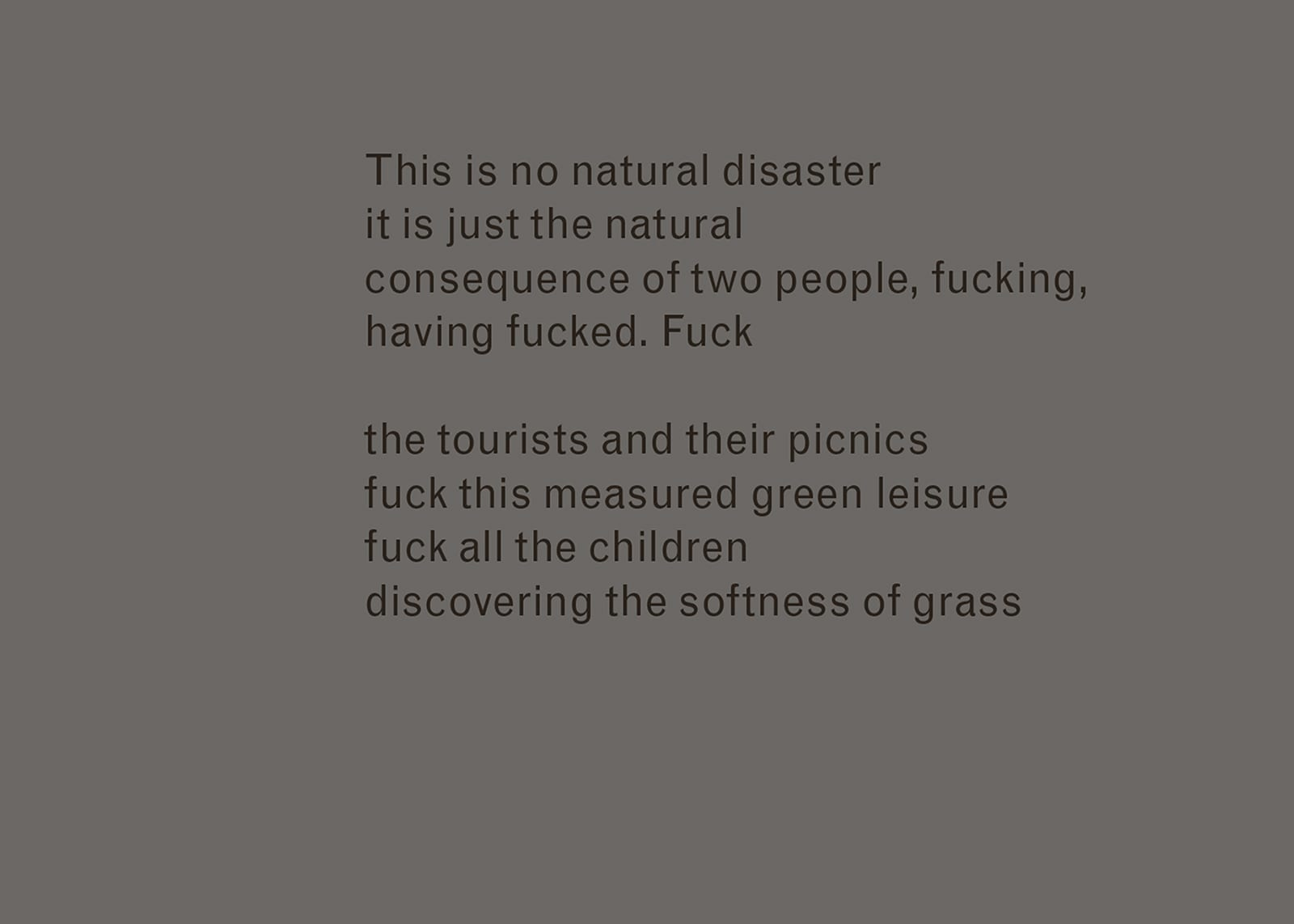 Excerpt of text from Imaginary Explosions. Text reads: This is no natural disaster / it is just the natural / consequence of two people, fucking, / having fucked. Fuck / the tourists and their picnics / fuck this measured green leisure / fuck all the children / discovering the softness of grass