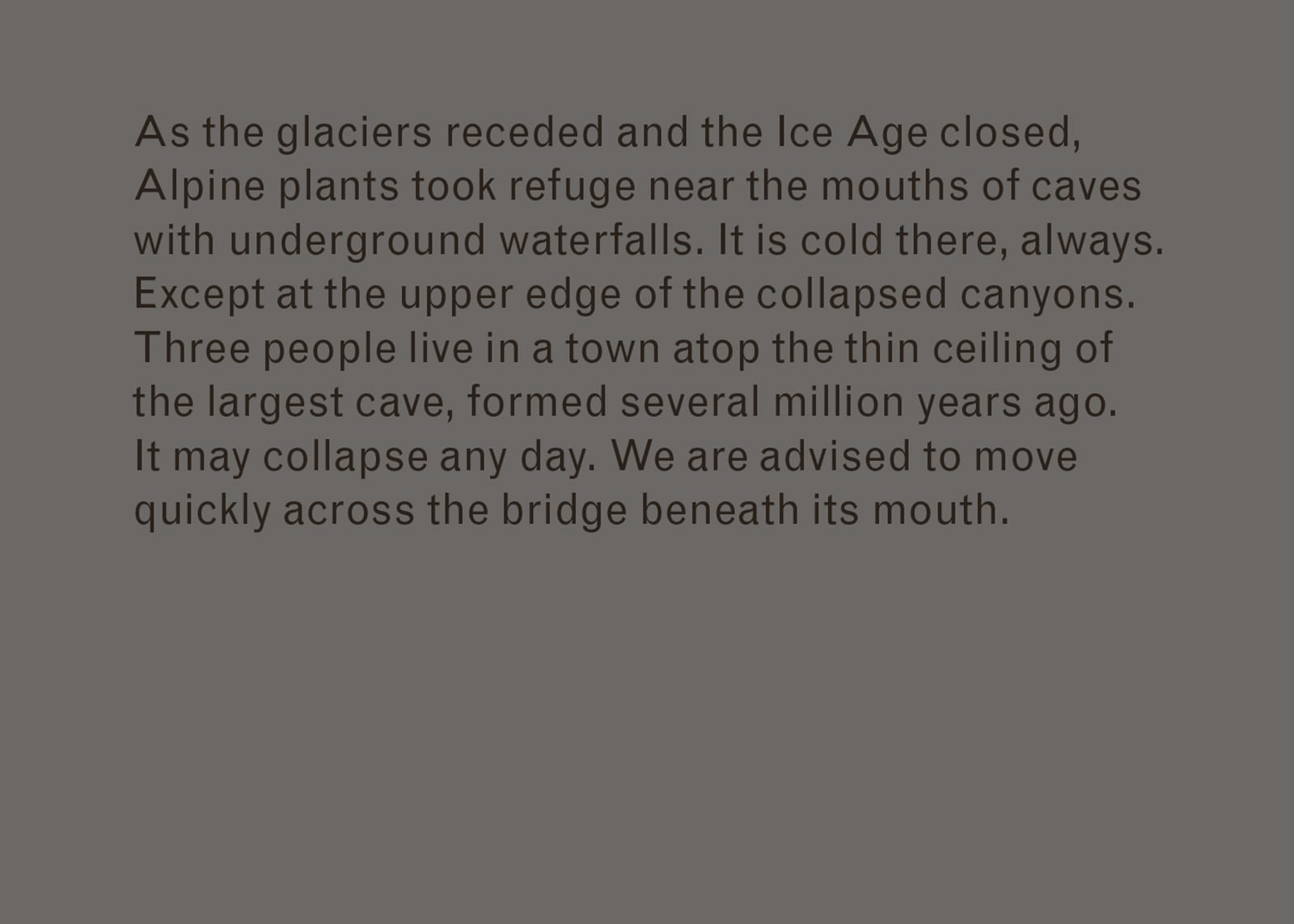 Excerpt of text from Imaginary Explosions. Text reads: As the glaciers receded and the Ice Age closed, Alpine plants took refuge near the mouths of caves with underground waterfalls. It is cold there, always. Except at the upper edge of the collapsed canyons. Three people live in a town atop the thin ceiling of the largest cave, formed several million years ago. It may collapse any day. We are advised to move quickly across the bridge beneath its mouth.
